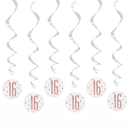 Birthday Glitz Rose Gold '16' Hanging Swirl Decorations - Pack of 6