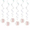 Birthday Glitz Rose Gold 30th Hanging Swirl Decorations - Pack of 6