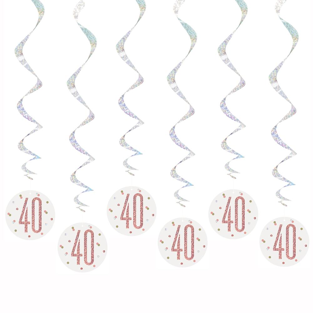 Birthday Glitz Rose Gold 40th Hanging Swirl Decorations - Pack of 6