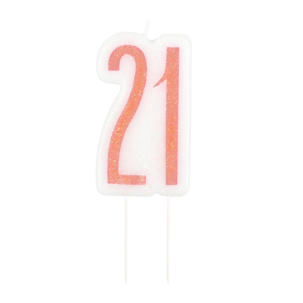 Birthday Glitz Rose Gold 21st Candle - 6cm