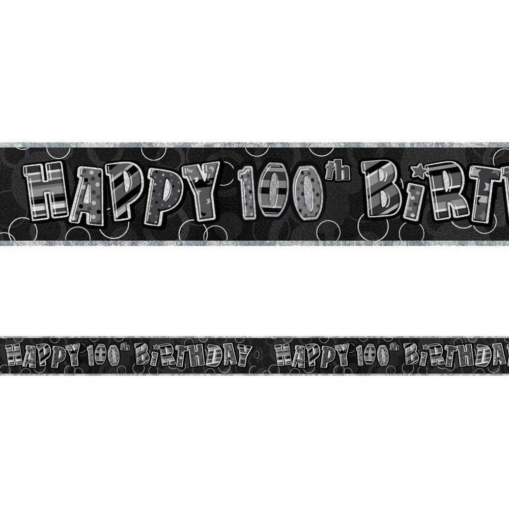 Birthday Glitz Black & Silver Happy 100th Birthday Foil Banner - 2.7m