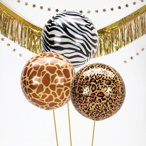 Inflated Animal Print Orb Balloon Bundle in a Box