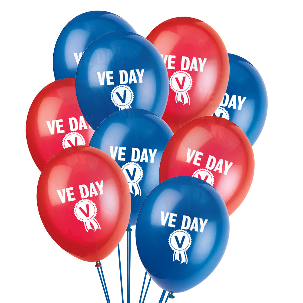 VE Day 75 Years Latex Balloons - Red & Blue - Pack of 10