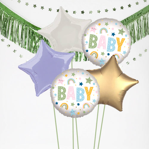 Inflated New Baby Stars and Rainbows Balloon Bundle in a Box