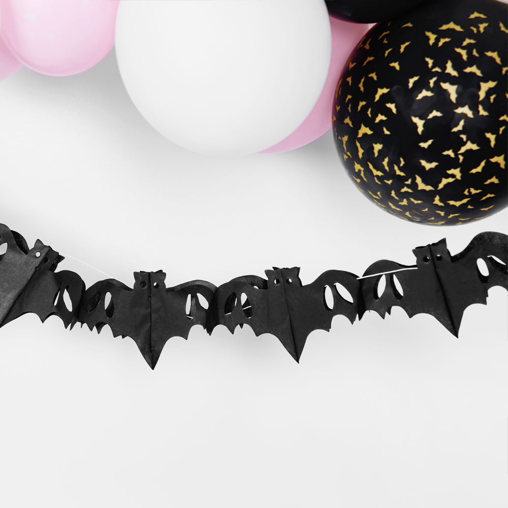 Black Bat Paper Garland Decoration - 4m