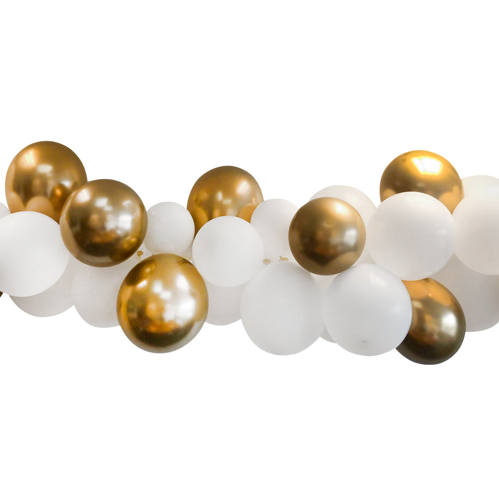 White and Gold Chrome Balloon Arch Decoration DIY Kit - 2.5m