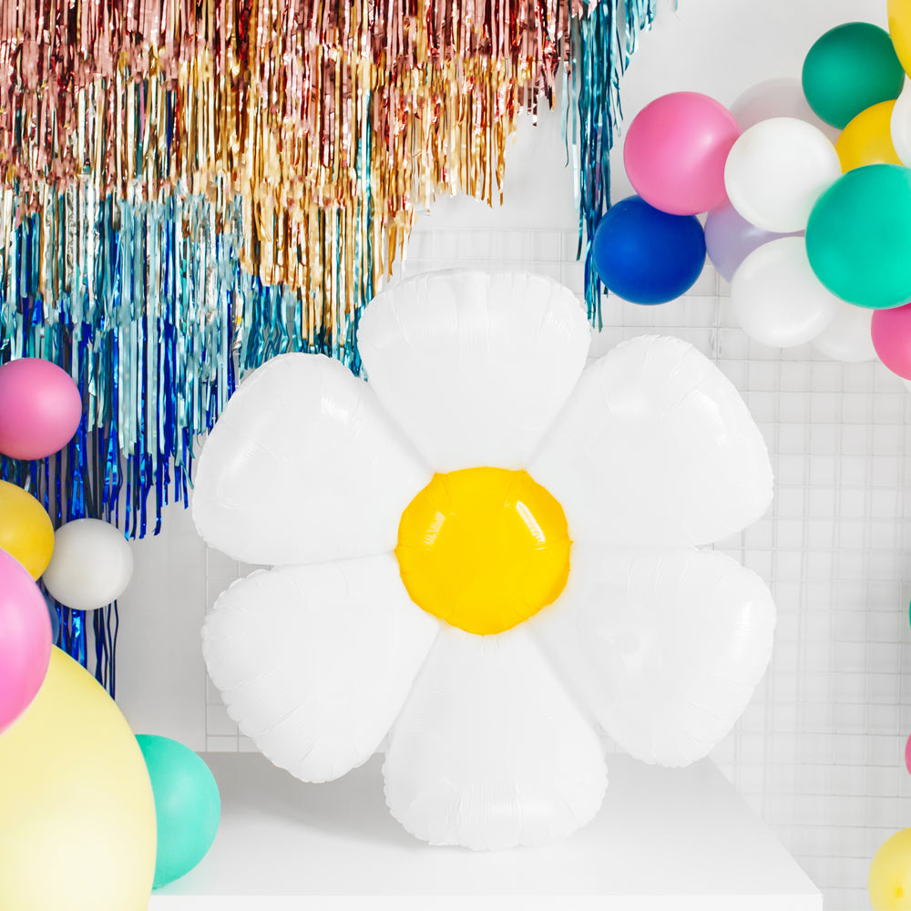 White Daisy Foil Balloon - 36""