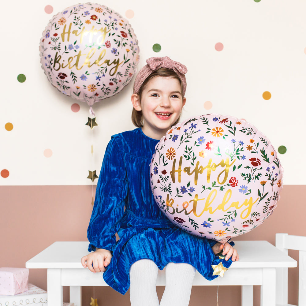 Pink Floral Happy Birthday Foil Balloon - 14""