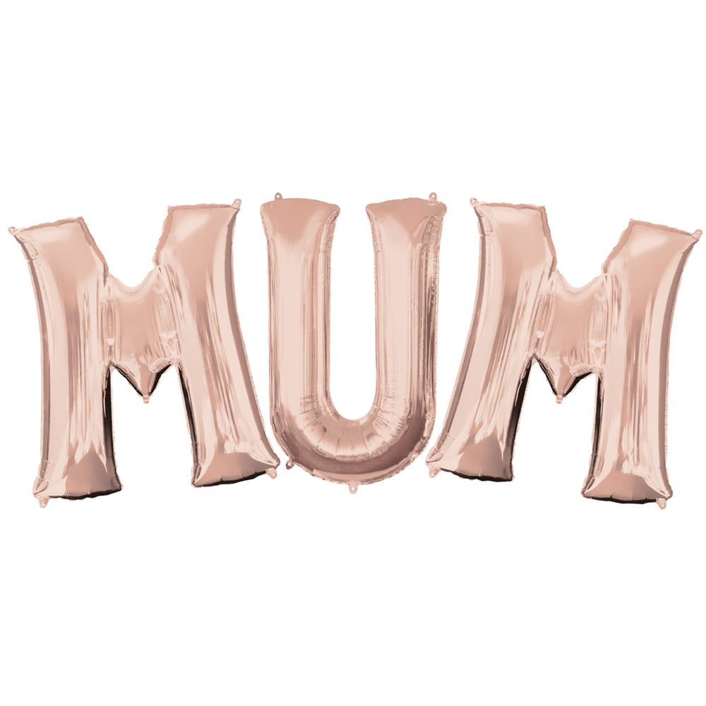 M-U-M Mother's Day Rose Gold Foil Balloons - 16""