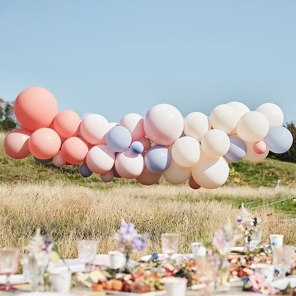 Luxe Boho Blush, Nude and Blue Balloon Arch Kit - 5m