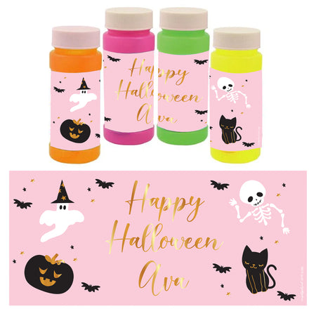 Personalised Bubbles - Pink Halloween - Pack of 6