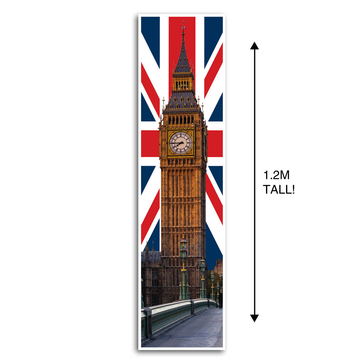 Big Ben Union Jack British Portrait Wall Banner Decoration - 1.2m