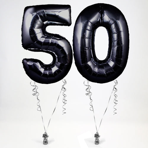 "Inflated Black Giant 35"" Number Balloons in a Box - 2 Numbers - Choose Your Numbers"