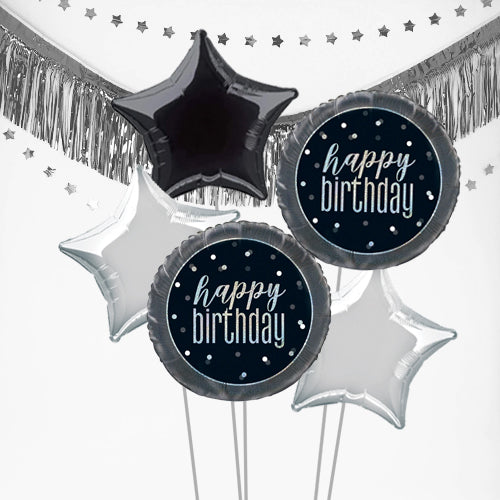 Inflated Black Birthday Glitz Balloon Bundle in a Box