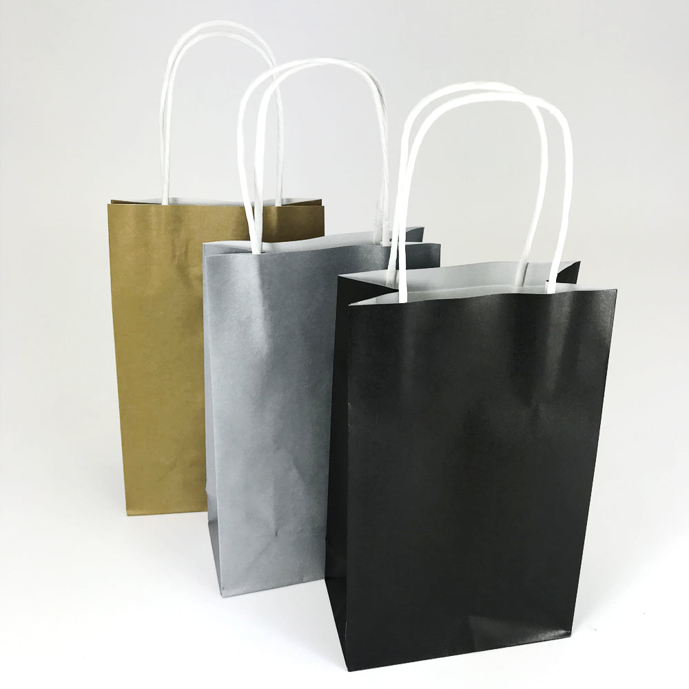 Black, Gold and Silver Paper Party Bags - Pack of 6