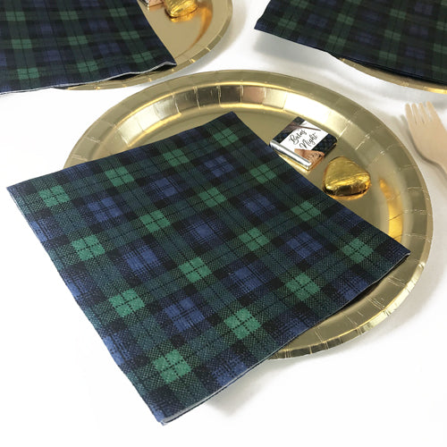 Burns Night Black Watch Tartan Napkins - 33cm - Pack of 20