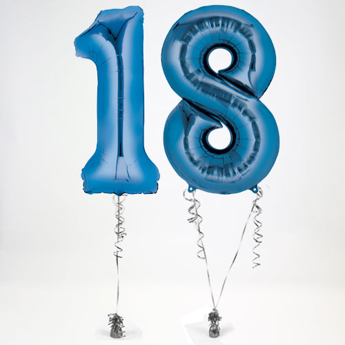 "Inflated Blue Giant 35"" Number Balloons in a Box - 2 Numbers - Choose Your Numbers"