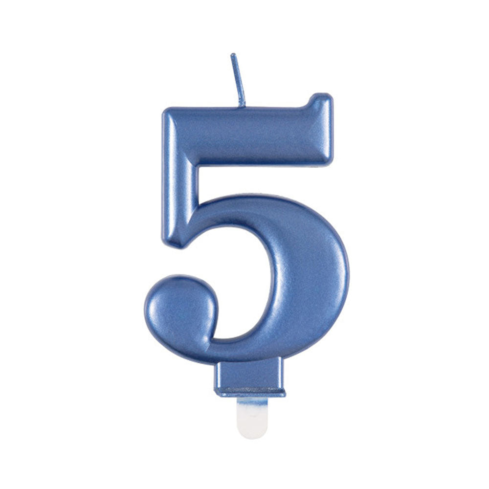 Blue Metallic Number 5 Candle - 6cm