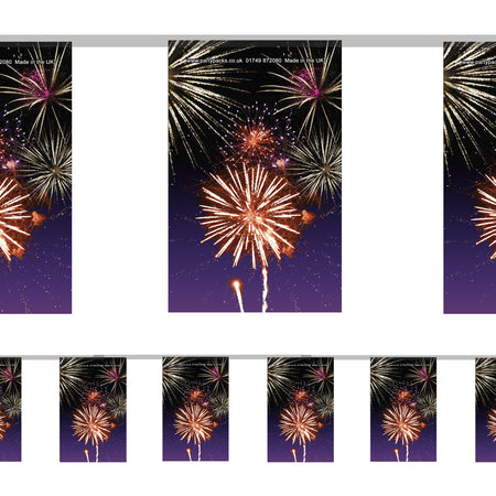 Bonfire Night Fireworks Paper Flag Bunting - 2.4m