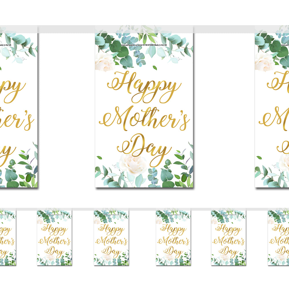 Botanical Foliage Happy Mother's Day Flag Paper Bunting Decoration - 2.4m