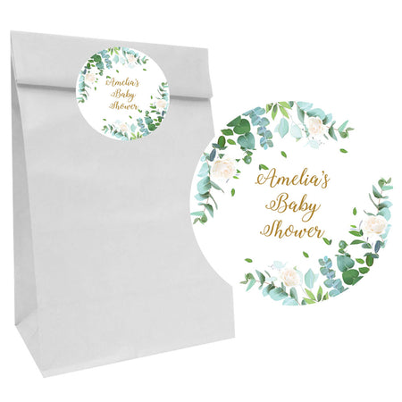 Botanical Party Bags with Personalised Stickers - Pack of 12