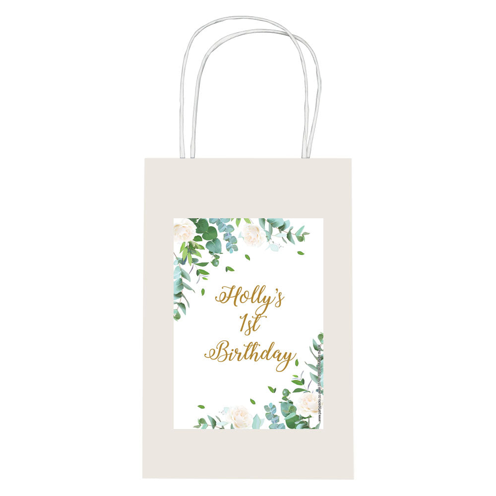 Personalised Botanical Paper Party Bags - Pack of 12