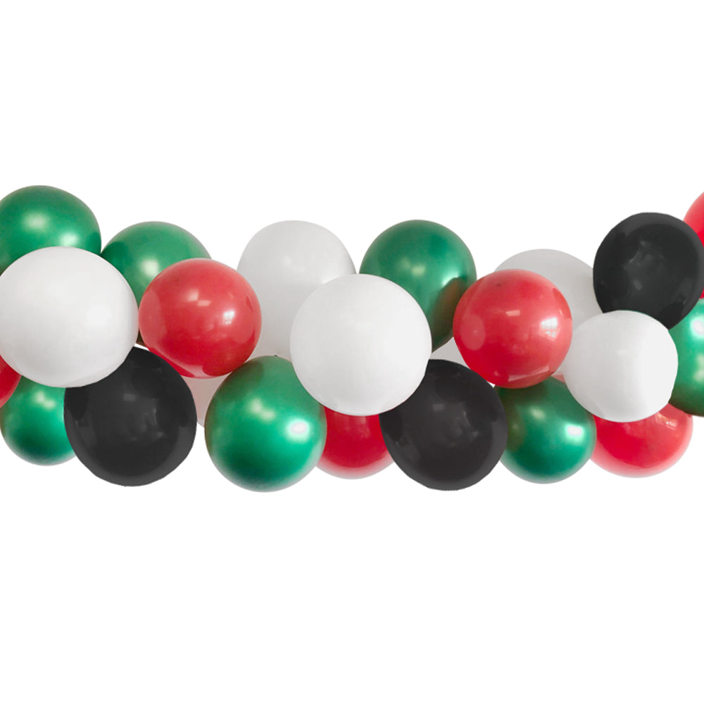 Red, Green, Black and White Balloon Arch DIY Kit - 2.5m
