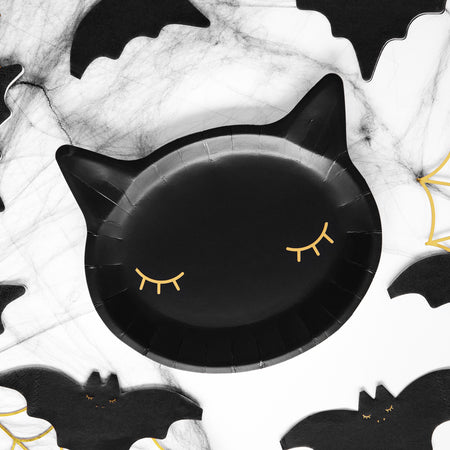 Black Cat Paper Plates - 22cm - Pack of 6