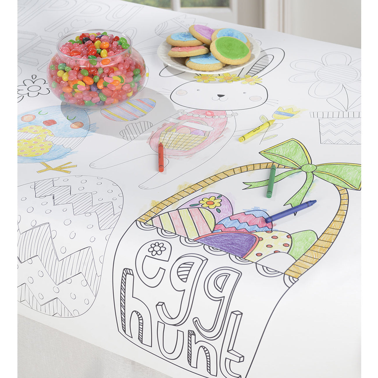 Colour-In Easter Paper Tablecloth - 91cm x 1.21cm