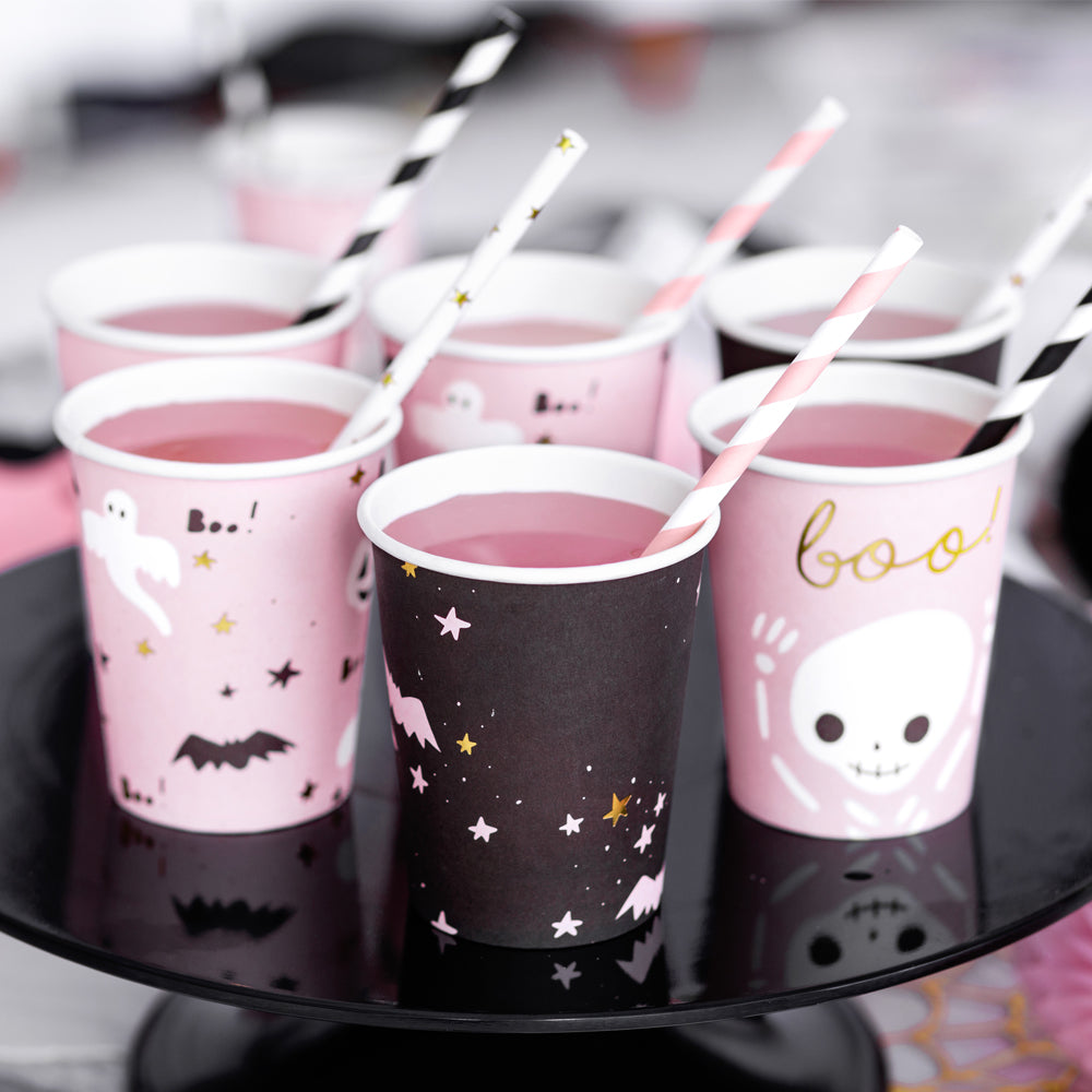 Pink Halloween Paper Cups - 220ml - Pack of 6