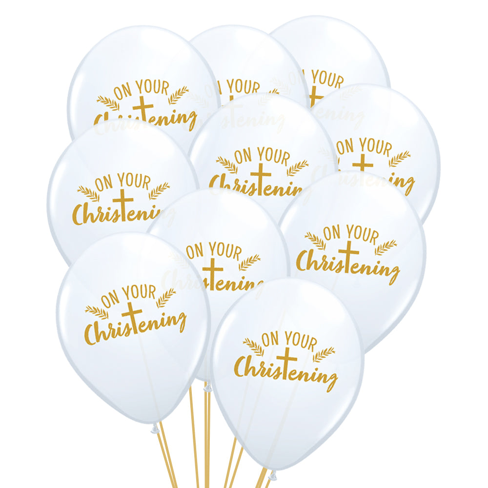 "On Your Christening Cross 11"" Latex Balloons - Pack of 10"