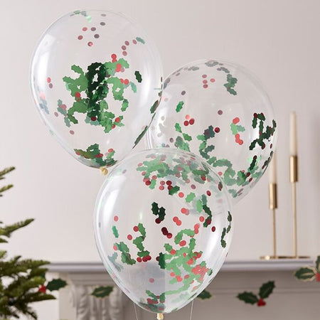 Christmas Holly and Berries Confetti Balloons