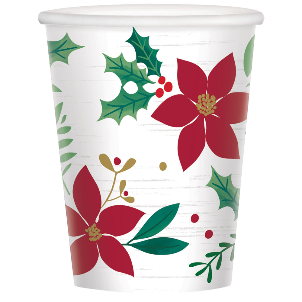 Christmas Wishes Paper Cups - 266ml - Pack of 8