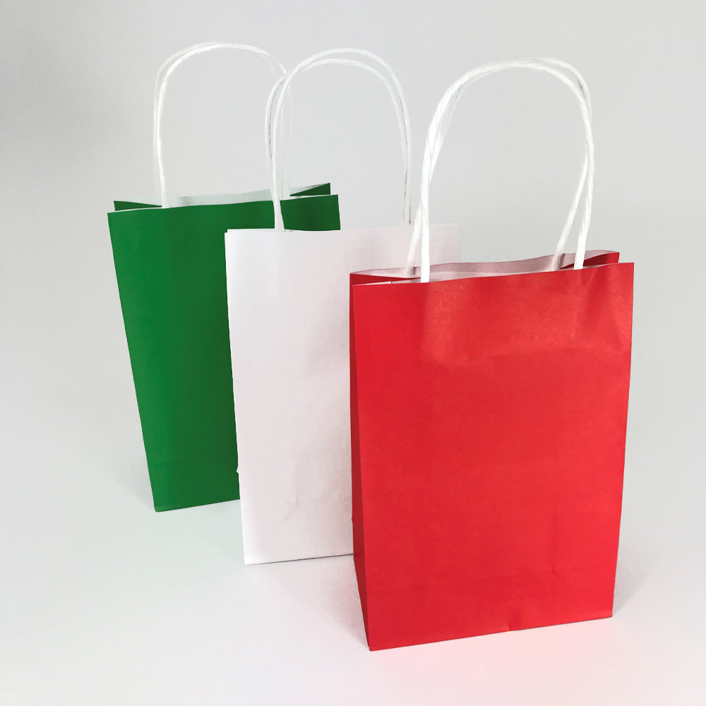 Red, White and Green Colours Paper Party Bags - Pack of 6
