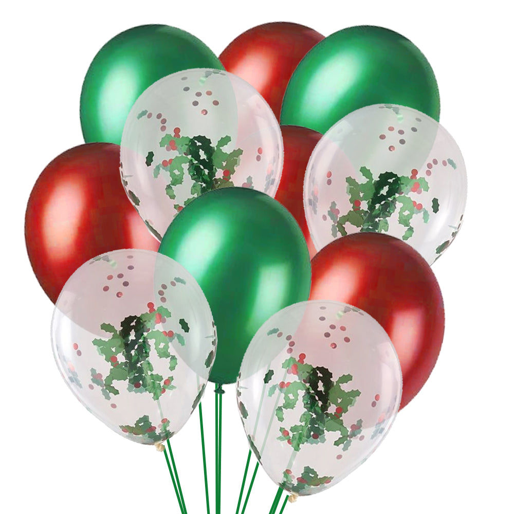 Christmas Holly Latex Balloons - Pack of 21