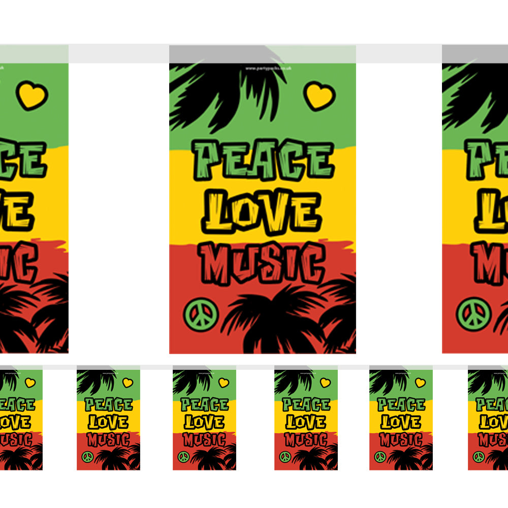 Reggae Themed Paper Flag Bunting - 2.4m
