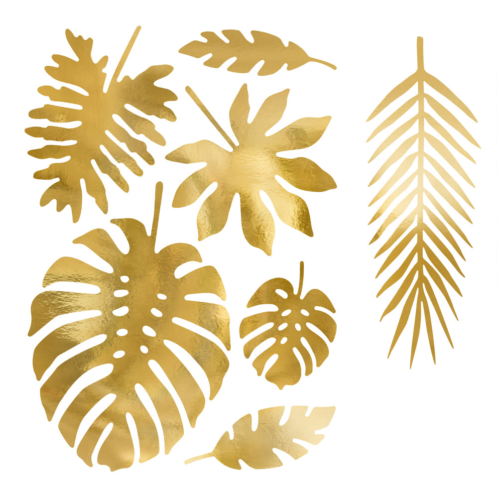 Gold Paper Tropical Leaves - Pack of 21