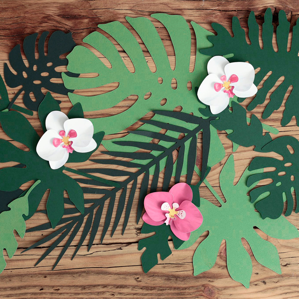 Green Paper Tropical Leaves - Pack of 21