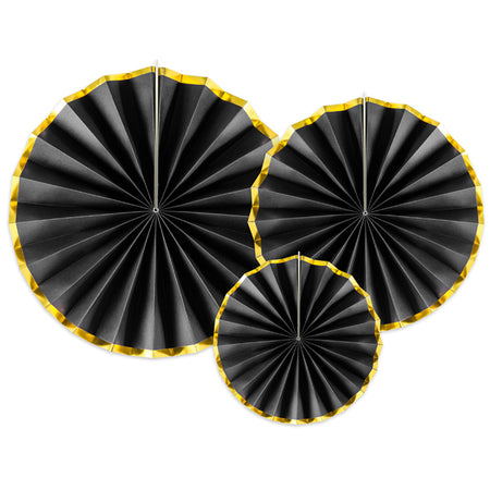 Black and Gold Hanging Tissue Paper Fan Decorations - Pack of 3