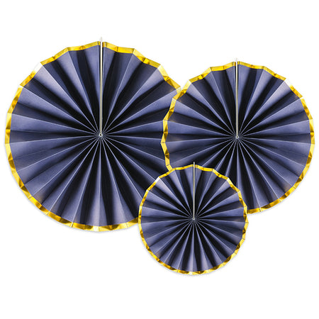 Navy and Gold Hanging Tissue Paper Fan Decorations - Pack of 3