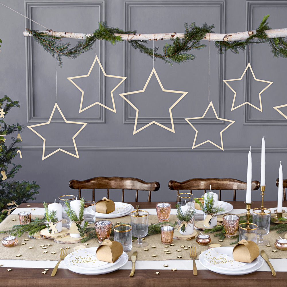 Wooden Hanging Star Decorations - Pack of 3