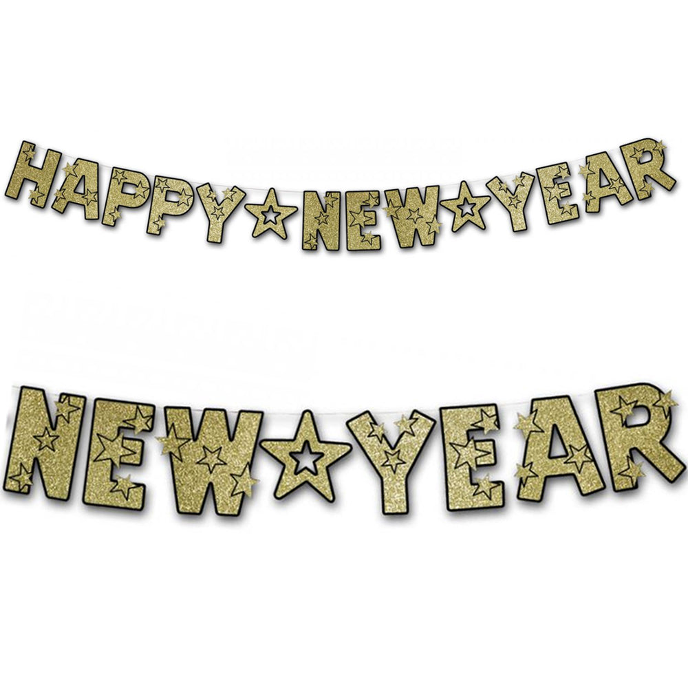 Gold Glitter Happy New Year Letter Banner