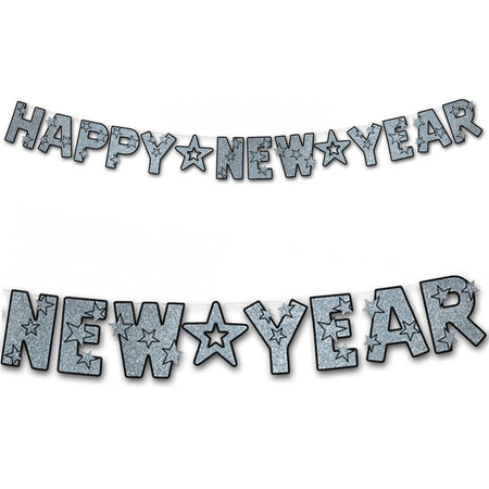 Silver Glittered Happy New Year Letter Banner