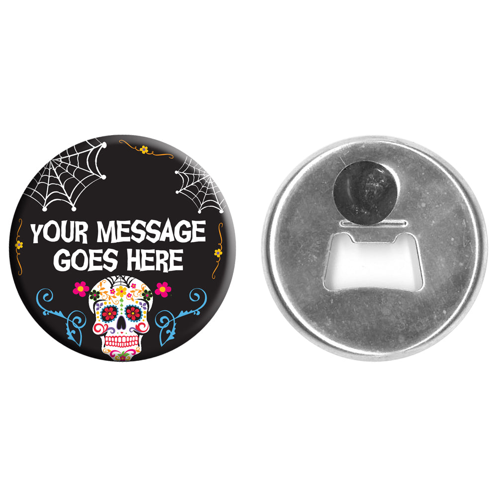 Personalised Bottle Opener Magnet - 58mm - Day of the Dead