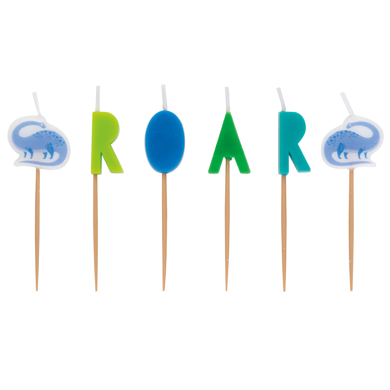Blue and Green Dinosaur 'Roar' Party Pick Cake Candles - Pack of 6