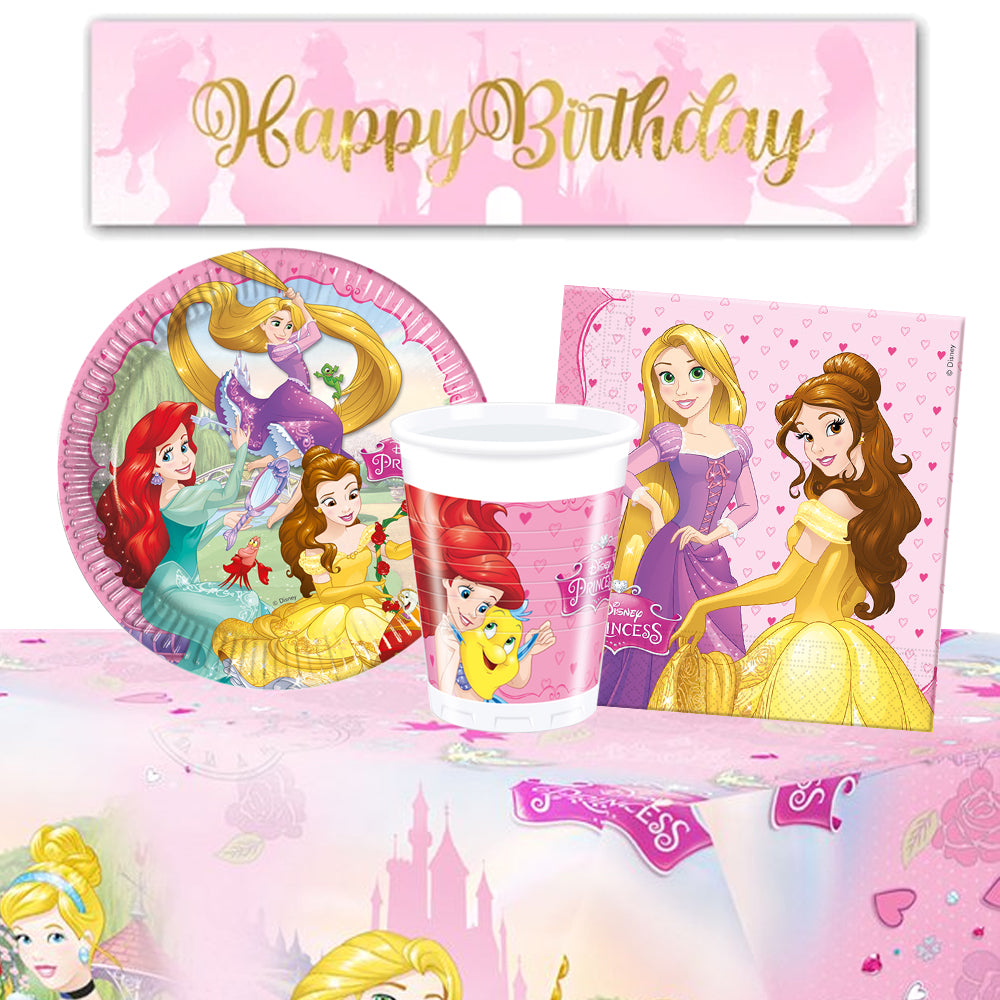 Disney Princess Tableware Pack For 8 With FREE Banner