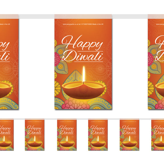 Happy Diwali Paper Flag Bunting Decoration - 2.4m