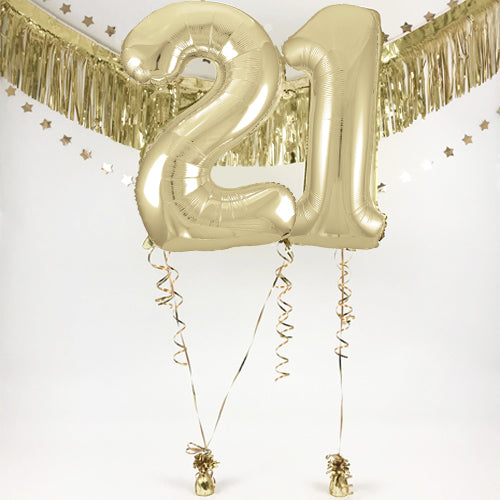 "Inflated Gold Giant 35"" Number Balloons in a Box - 2 Numbers - Choose Your Numbers"