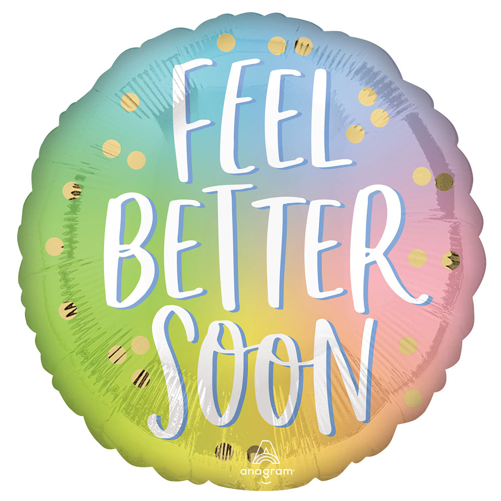 Ombre Rainbow Feel Better Soon Foil Balloon - 18""