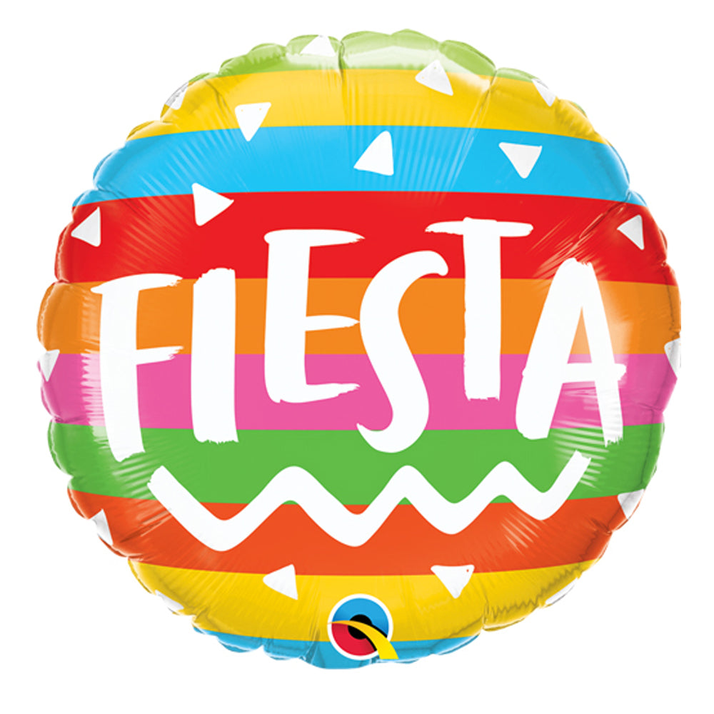 "Fiesta Rainbow Stripes 18"" Foil Balloon"